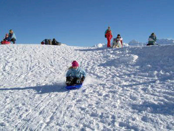 Sledding at The Mountain Inn.