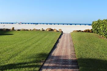 Walkway to beach at Gulfview Manor Resort.