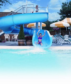 Kid at water park at Villa Roma Resort.