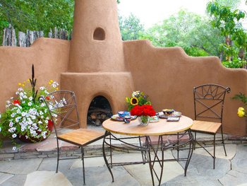 Outdoor Fireplace at Antigua Inn