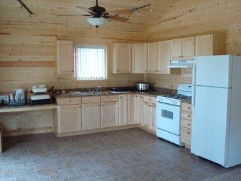 Cabin kitchen at Anchor Inn Resort.