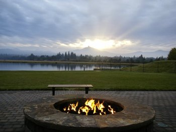 Fire pit view at Black Butte Ranch.