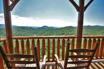 Cabin deck at Bear Camp Cabins.