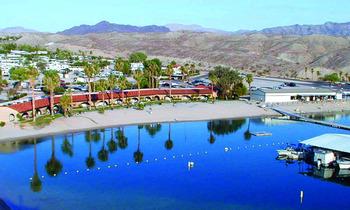 Aerial view of Cottonwood Cove Resort.