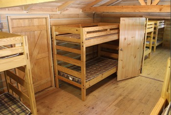 Cabin bunk beds at ACE Adventure Resort.