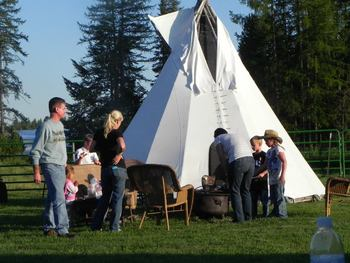 Tipi camping at Gaynor Ranch & Resort.