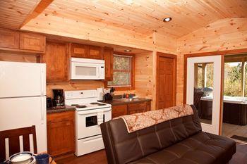 Cabin kitchen at Shawnee Forest Cabins.