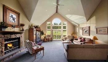Guest living room at Woodloch Resort.