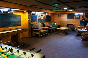 Game room at Izaak Walton Inn.