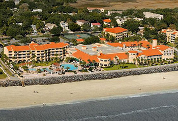 Aerial view of The King and Prince Beach Resort.