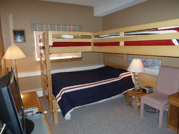 Vacation rental bedroom at Killington Accommodations.