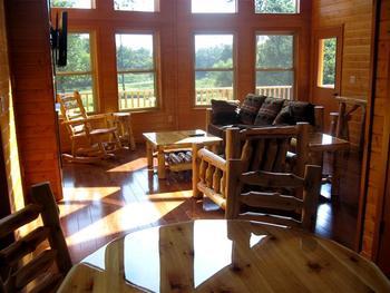 Rental living room at Red Cedar Lodge.