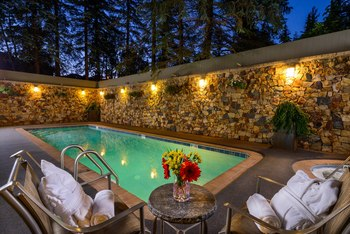 Outdoor pool at Vail's Mountain Haus.