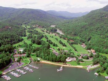 Aerial view of Rumbling Bald Resort.