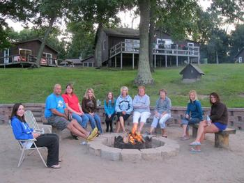 Gathered around the fire at Bay View Lodge.