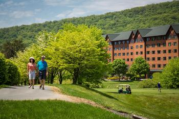 Stroll along the lake path at Rocky Gap Casino Resort.