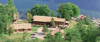 Aeriel view of Northern Lake George Resort.