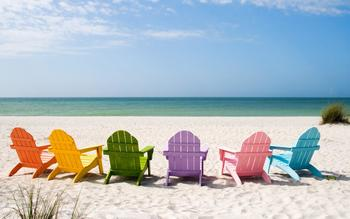 The beach at Pirates Cove Vacation Rentals.