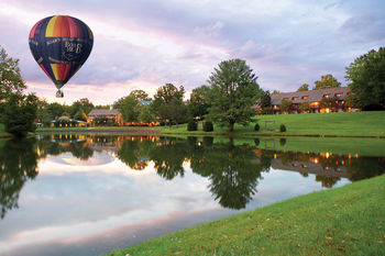 Hot Air Balloon Over Lake at The Boar's Head