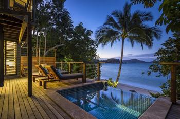Guest deck at Bedarra Island.