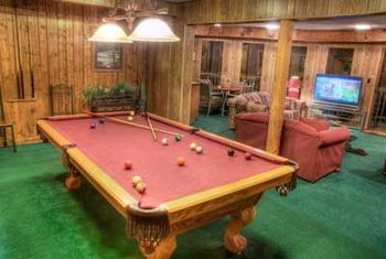 Pool Table at Baskins Creek Cabin Rentals