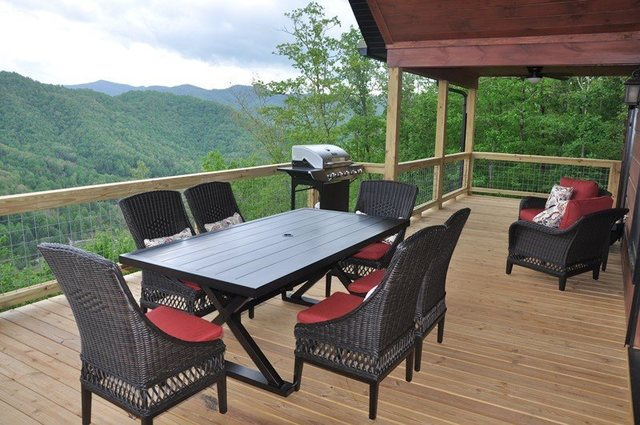 Cabin deck at Great Smokys Cabin Rentals.