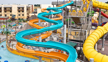 Outdoor water slides at Kalahari Waterpark Resort Convention Center.