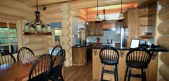 Guest kitchen and dining room at Fiddler Lake Resort.