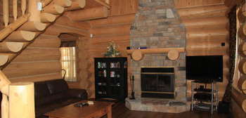 Fireplace at Fiddler Lake Resort.
