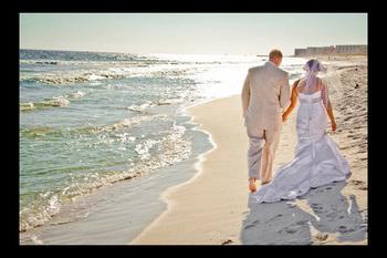 Wedding couple at Sandpiper Cove.