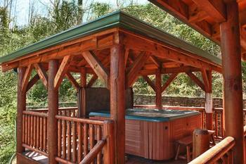Cabin jacuzzi at Great Cabins in the Smokies.
