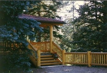 Cabin porch at Glacier Lodge.