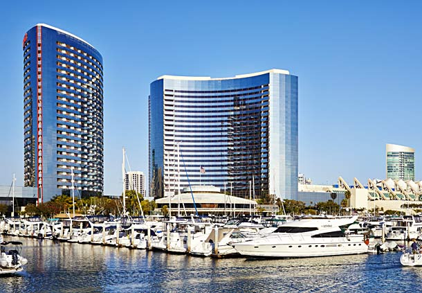 Exterior view of San Diego Marriott Marquis & Marina.