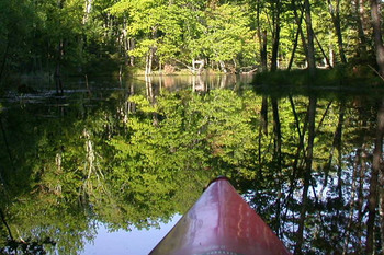 Canoeing at Highland Pines Resort.