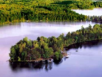 Aerial view of Bad Axe Lake at Isle O' Dreams Lodge.