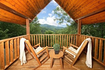 Cabin deck at Little Valley Mountain Resort.