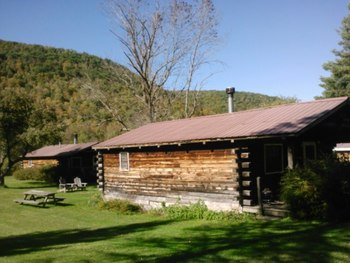 Cabin exterior at Cold Spring Lodge.