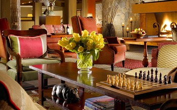 Living room at The Woodstock Inn & Resort.