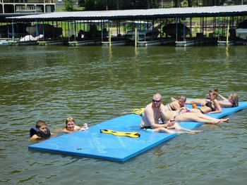 Floating mat at Paradise Cove Marine Resort.