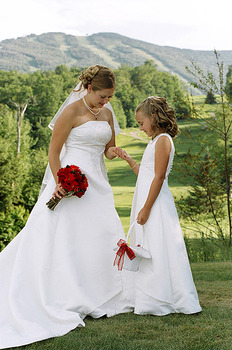 Bride and Flower Girl at Inn of the Six Mountains