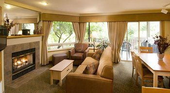 Suite living room at Whispering Woods Resort.