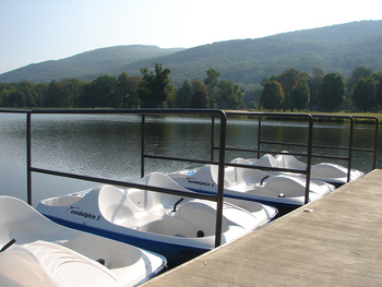 One of our favorite activities is pedal boating on our private lake!