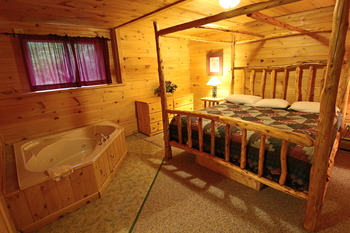 Cabin bedroom at Northern Outdoors.