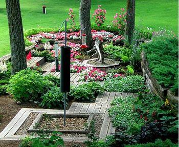 Garden view at Half Moon Trail Resort, Park Rapids, MN