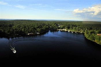 Aerial view of Woodloch Resort.
