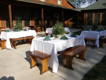 Pine Village outdoor dining at Heartwood Conference Center & Retreat.