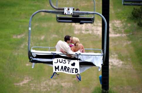 Married couple at Crystal Mountain Resort and Spa.