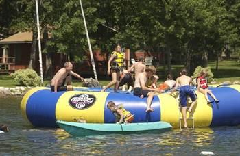 Kids playing in water at Brindley's Harbor Resort.