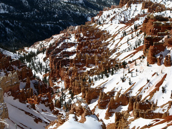 Snow covered canyon near Color Country Motel.