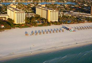 Aerial view of Marco Island Marriott Beach Resort, Golf Club.